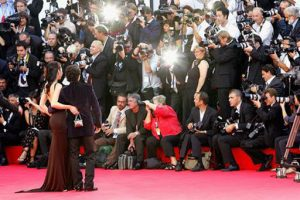 Red carpet scene at the Venice Film Festival.